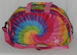 Molly N Me Brand 522B005 Rainbow Tie Dye Girls Duffle Bag With Flower Detail image 1