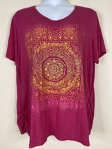 JMS Womens Plus Size 3X Pink Mandala Graphic T-Shirt Short Sleeve V Neck - $17.82