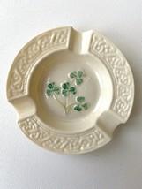 Vintage Belleek Porcelain Ashtray Shamrocks 7th Mark (1980-1993) with Box - $18.69