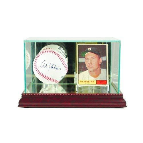 Glass Baseball Card & Ball Display Case with Cherry Wood Molding