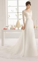 Bateau 3/4 Sleeve Chapel Train Illusion Long White Lace Chiffon Wedding Dress - $125.00