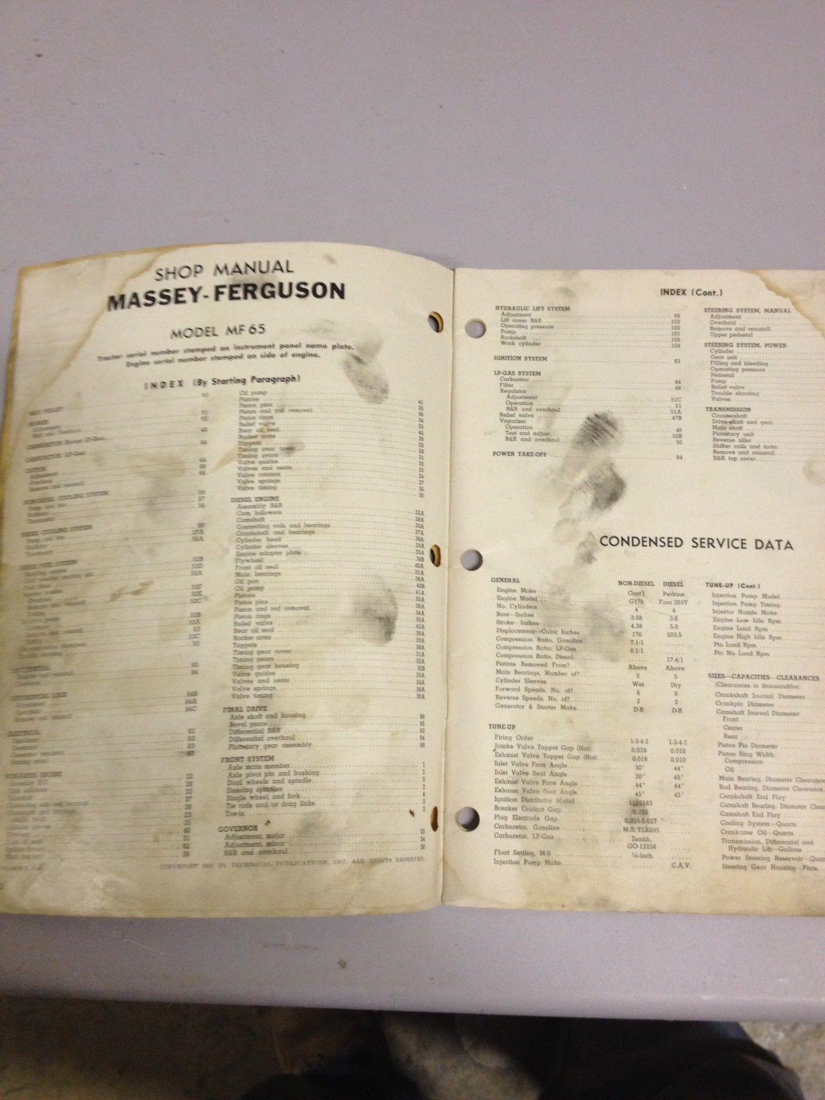 ... I & T Shop Service Manual MF-17 Massey Ferguson MF65 (ddf421)