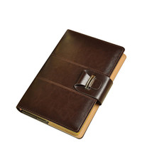 A5 Thick Lined Journals Vintage Dark Brown Leather Bound Notebooks Diari... - $21.78