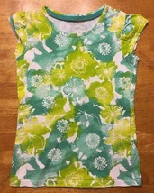 Cherokee Girl's White & Green Floral Short Sleeve Shirt - Size Small - $6.99