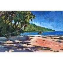 Bahia, Original 20x31 Acrylic Painting of Brazilian beach on an island n... - $900.00