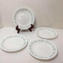 "4 Bread Plates Corelle Country Cottage Green Lavendar Hearts 6.75"" - $19.34"