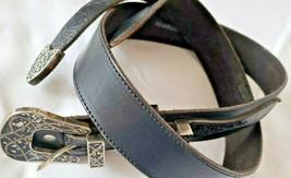 Mens Vintage Belt Size 34 Black Genuine Leather Decorative Buckle Tip Un... - $12.38