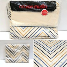 Vintage Muslin Double Full Flat Bed Sheet 81x96 Blue Mstrd Geometric New... - $19.90