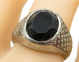 EMMONS 925 Silver - Vintage Black Onyx Etched Band Cocktail Ring Sz 10 - R8012 - $34.41
