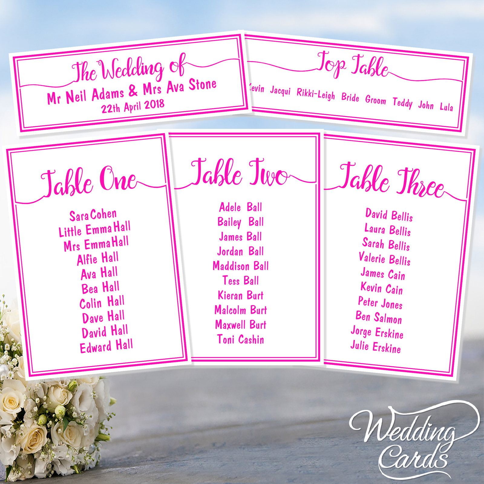 Personalised Wedding Party Table Plan Name Decoration Stationery card ANY COLOUR