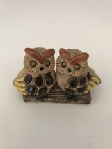 Owls on Log Figurine Two Owls on a Log with Googly Eyes Ceramic Figurine - $10.99