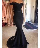 Off the Sholder Mermaid Navy Blue Long Bridesmaid Dresses - $129.99+