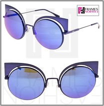 FENDI EYESHINE FF0177S Lilac Blue Mirrored Metal Sunglasses Round Runway... - $237.60