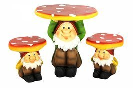 Four Seasons Home 3-Piece Jolly Gnome Table and Chair Novelty Garden Fur... - €335,26 EUR