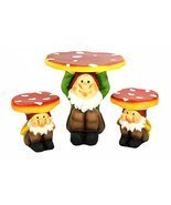 Four Seasons Home 3-Piece Jolly Gnome Table and Chair Novelty Garden Fur... - €329,27 EUR