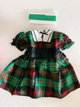 American Girl Doll Addy Christmas Holiday Green Plaid Dress Outfit Ribbon Euc - $53.20
