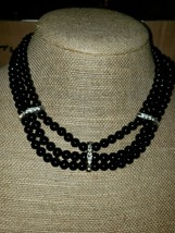 Beautiful Vintage Triple Strand Choker With 3 Sparkling Rhinestone Accents - $17.82