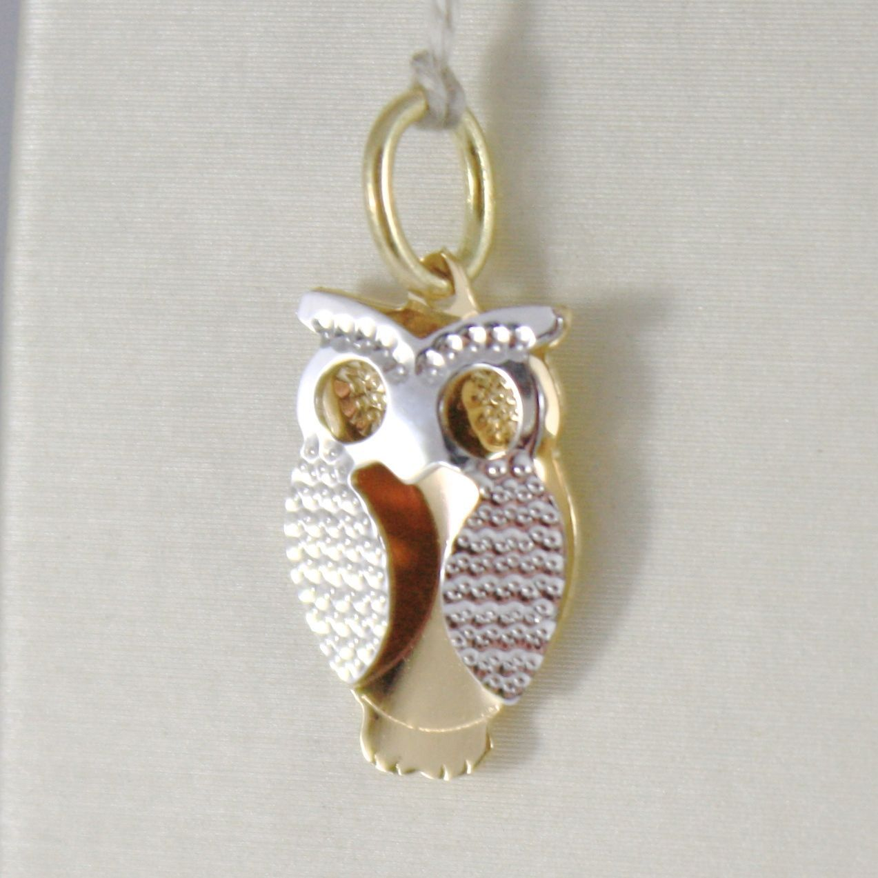 WHITE GOLD PENDANT YELLOW 750 18K, OWL, DOUBLE LAYER 2.2 CM, MADE IN ITALY