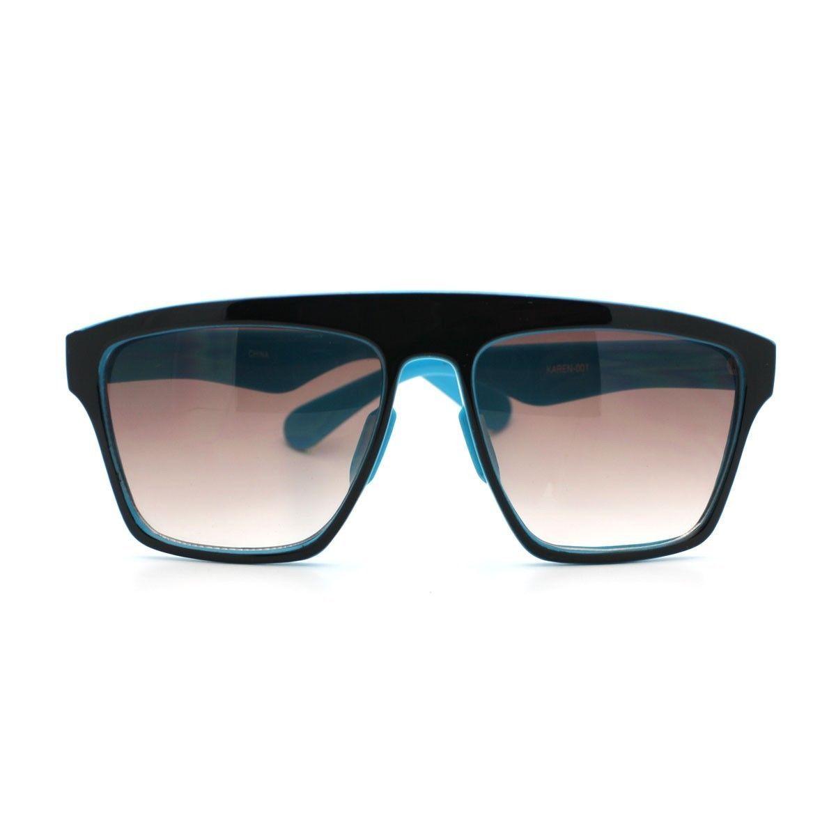 New Unisex Sunglasses Square Arched Top Robot Frame 2-Tone BLACK BLUE