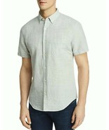 NEW $88 BLOOMINGDALE'S GRAYISH AGAVE GREEN S/S LINEN BLEND BUTTON DOWN S... - $13.19