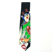 90's Bugs Bunny Tie Mens Short Football Necktie Looney Tunes Taz Daffy Date 1996 - $21.63