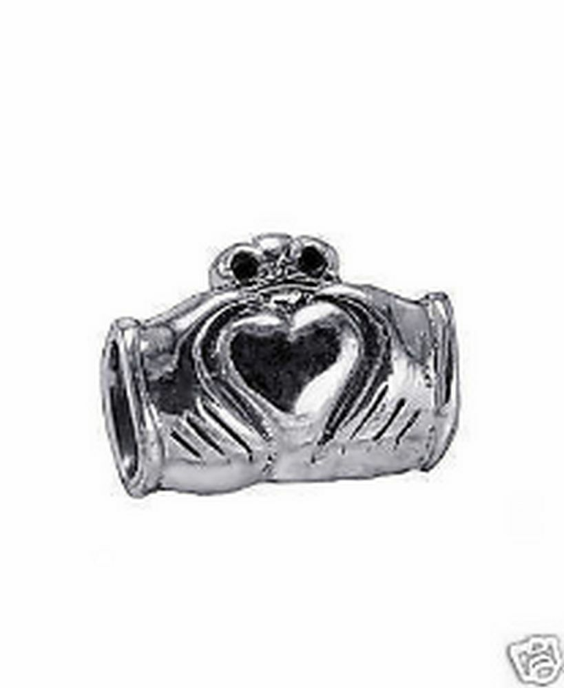 NICE Real Sterling Silver Celtic Claddagh bead fit jewelry bracelets - $26.93