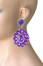 "3.25"" Long Cluster Clip On Earrings, Purple Rhinestones, Drag Queen, Pageant - $17.05"