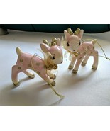 Target Wondershop Retro Pink Ceramic Deer Christmas Ornaments 2018 Set o... - $29.65
