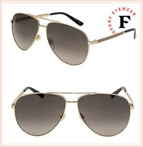 eb0bcdf6358 GUCCI WEB 0137 Gold Aviator Metal Brown Gradient Sunglasses GG0137S Unisex  -  287.10