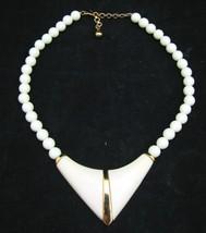Monet Ivory Cream Beaded Gold Necklace Signed Chunky V Shape Statement Choker - $11.87
