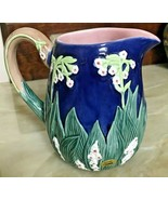 Vintage 1992 Majolica Seymour Mann Hand Painted Pitcher Floral Art Pottery - $64.99