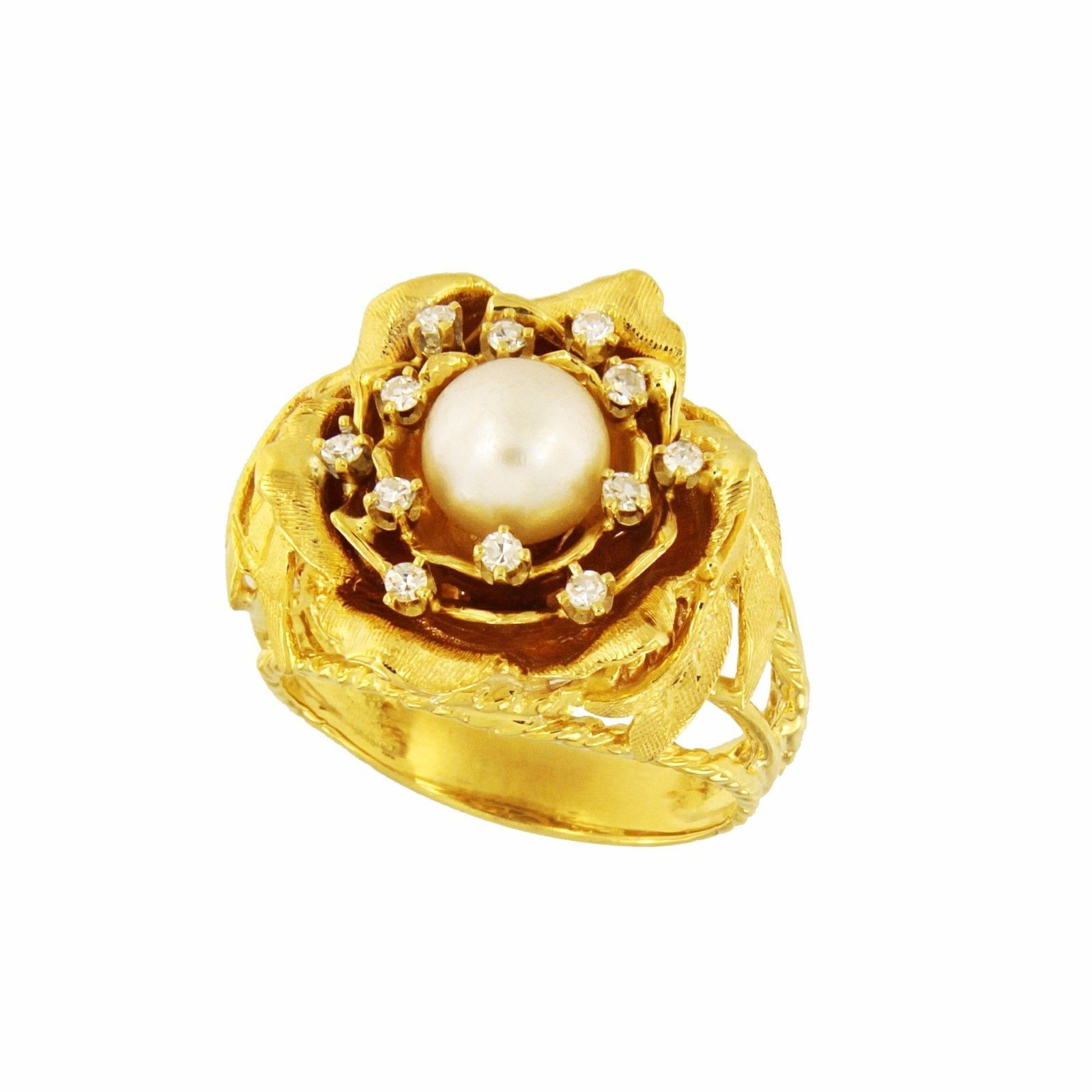 Antique Vintage Hand-Made 18k Gold Diamond Natural Pearl Ring