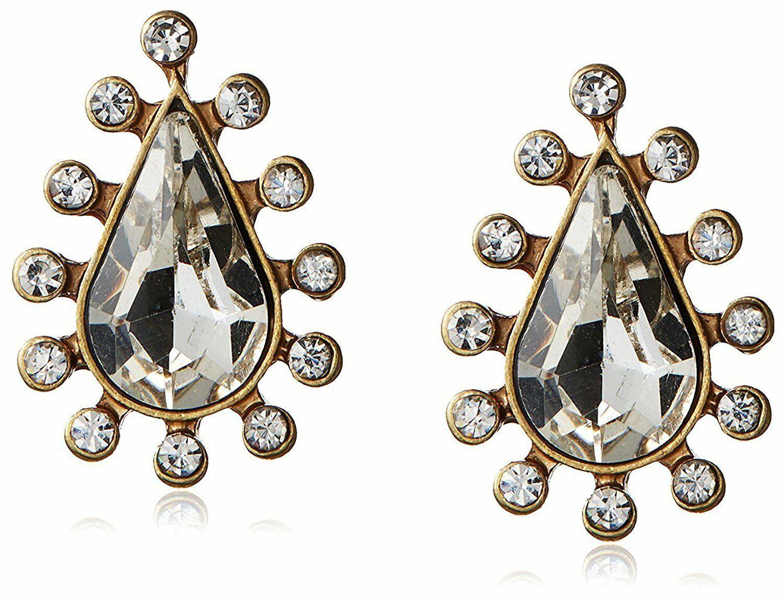 New David Aubrey Gold Tone Crystal Cubic Zirconia Pear Shape Teardrop Earrings