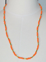 LES BERNARD INC Orange Glass Bead Beaded Gold Tone Necklace Vintage - $29.69