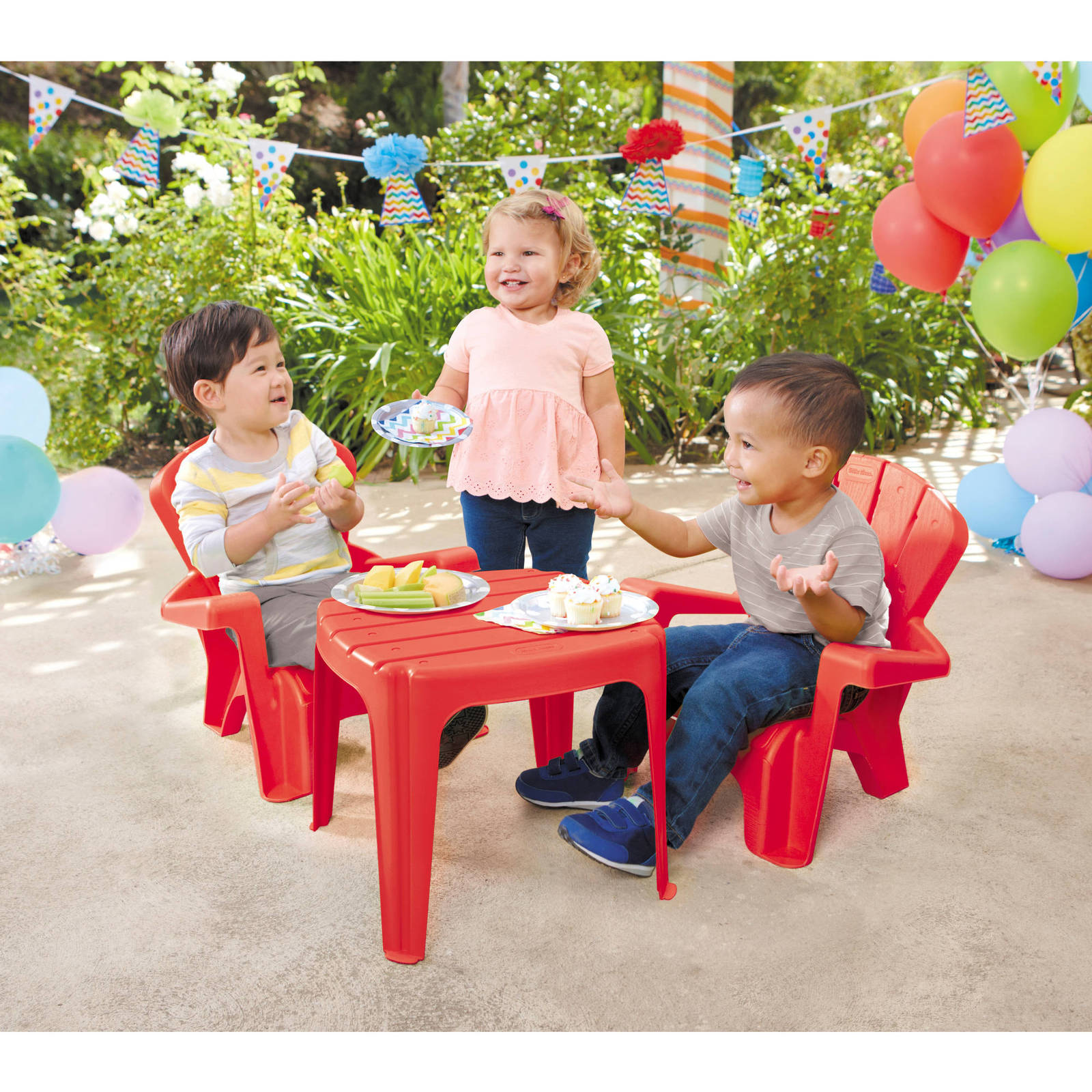kids play set adirondack chair table baby child patio yard furniture plastic red play tables. Black Bedroom Furniture Sets. Home Design Ideas