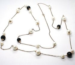 SILVER 925 NECKLACE PINK, ONYX BLACK, PEARLS, LONG 130 CM, CHAIN ROLO', 2 TURNS image 3