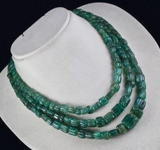 ANTIQUE 3 LINE 746CTS NATURAL ZAMBIA EMERALD BEADS CARVED GEMSTONE NECKL... - $2,000.00