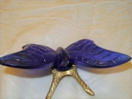 Fenton Cobalt  Blue Glass Butterfly with Brass Legs Stand - $58.04