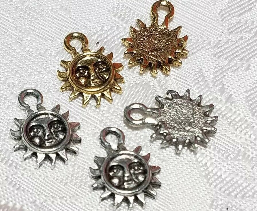 SMALL SUN FINE PEWTER PENDANT CHARM - 10.5x14x1.5mm