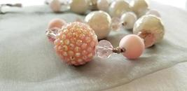 Glass marble beads and Pearl Beaded Necklace - Handmade Jewelry - $35.00