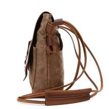 Sale, Leather with Canvas Crossbody Bag, Canvas Messenger Bag, Vintage Messenger image 4
