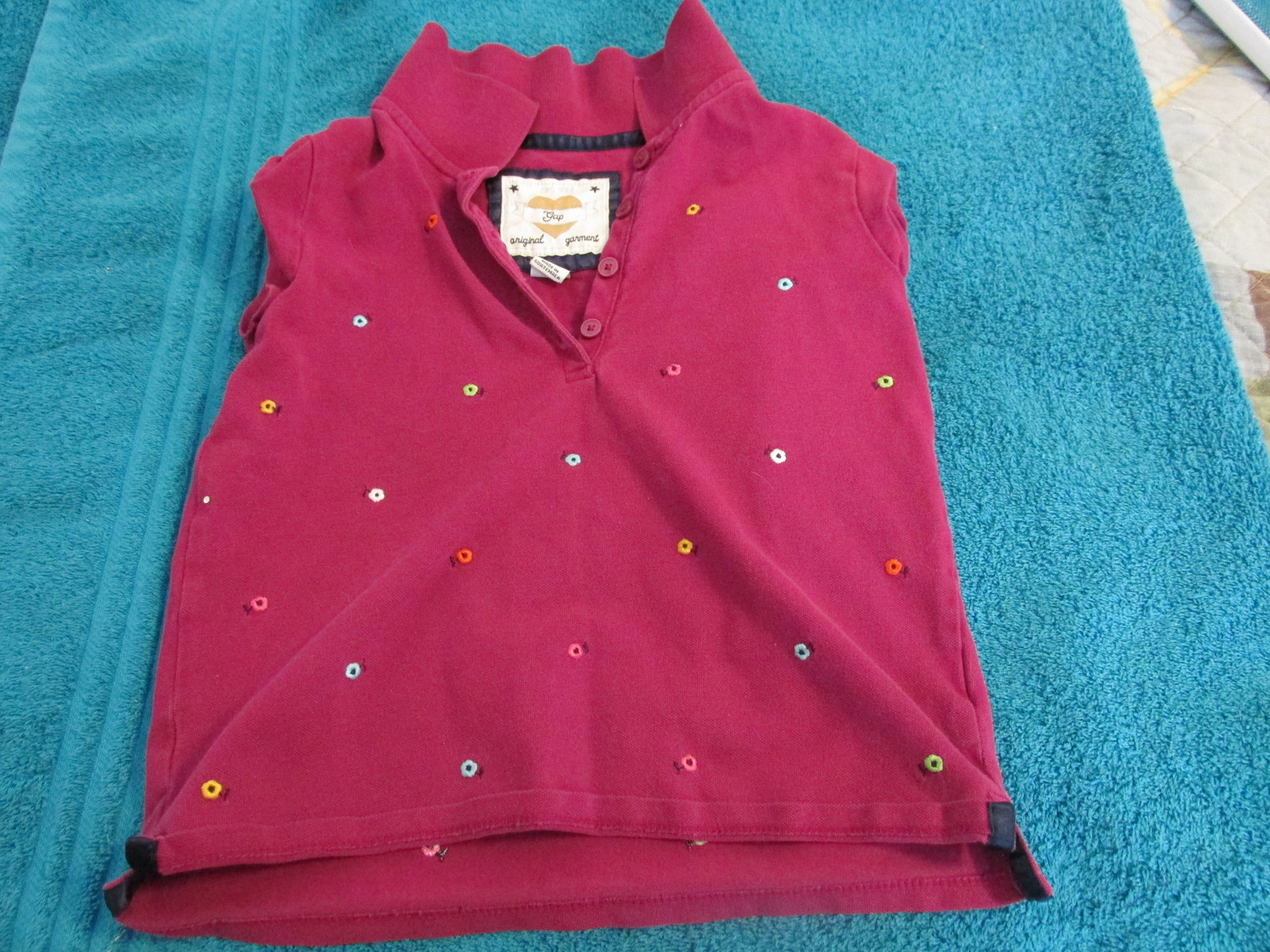 Gap Kids Girl's Pink T-shirt Top Small Embroidered