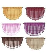 1 Solid Sheer Double Window Valance Topper Waterfall Pocket TkImport (Iv... - $19.80