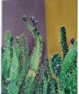 Original Acrylic Painting Cactus Garden Southwest by Artist Desert Cactus Purple - £28.26 GBP
