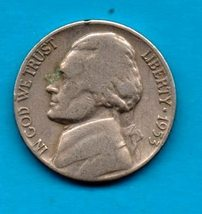 1953 D Jefferson Nickel - Circulated - Moderate Wear - $0.35