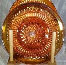 Iridescent Marigold Carnival Jeannette Anniversary 3 Dessert Dishes 2 S... - $18.69
