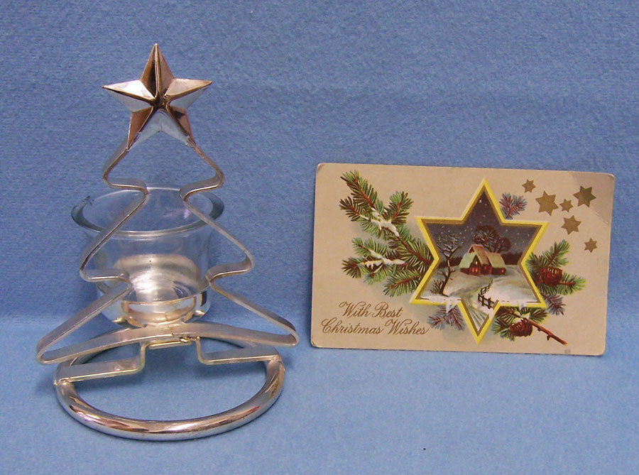 Primary image for Christmas Tree Votive Glass Candle Holder Silvertone Metal & Vintage PostCard
