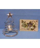 Christmas Tree Votive Glass Candle Holder Silvertone Metal & Vintage Pos... - $10.84