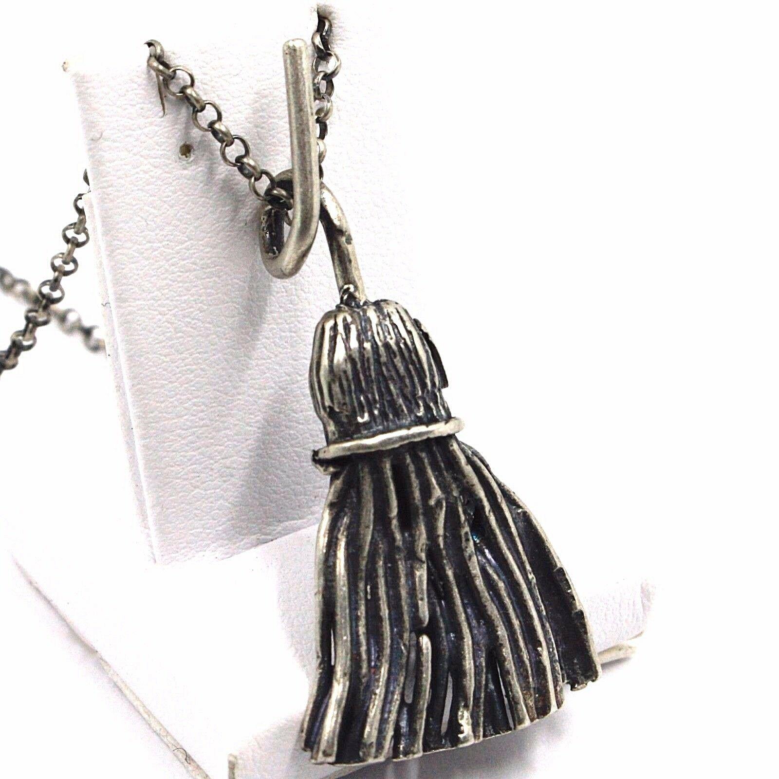 Halskette und Anhänger, Silber 925, Brüniert Matt, Besen, Hexe, Kette Rolo