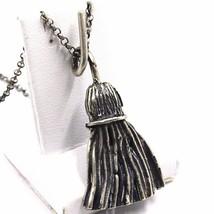 Halskette und Anhänger, Silber 925, Brüniert Matt, Besen, Hexe, Kette Rolo - $161.32
